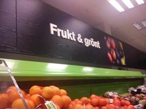 inomhusskyltar för frukt och grönt